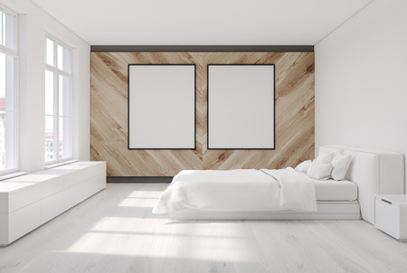 bedside: White bedroom with a white floor and a white and a wooden wall, large windows and a bedside table with a closet. Two posters. Side view. 3d rendering mock up Stock Photo