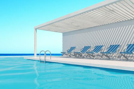 スイミング プールに沿って青いデッキの椅子の行。雲ひとつない空は、それらの上です。3 d レンダリング、モックアップを作成します。