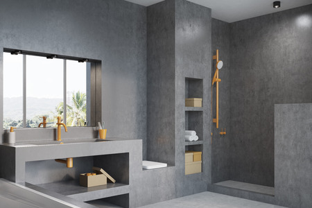 modern bathroom: Gray bathroom interior with a white tub, a massive sink with an orange tap, shelves and a panoramic window. Side view. 3d rendering mock up