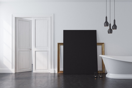 modern bathroom: Vintage bathroom interior with a white bathtub and a white wall with a black poster and a frame standing near it. Concept of luxury and wealth. 3d rendering mock up
