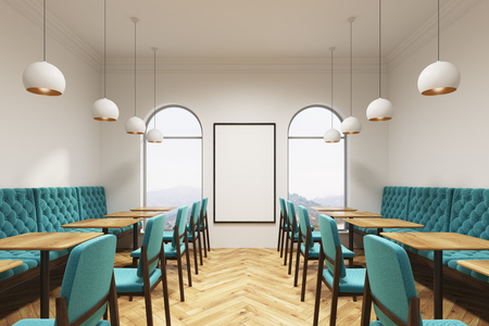 Blue green chairs and sofas are standing near square wooden tables in a coffee shop or a restaurant with a wooden floor, white walls and a vertical poster. 3d rendering mock up Stok Fotoğraf - 83413434