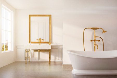 Vintage bathroom interior with a white bathtub, a gold shower, a sink and a white wall. Concept of luxury and wealth. 3d rendering mock up toned image