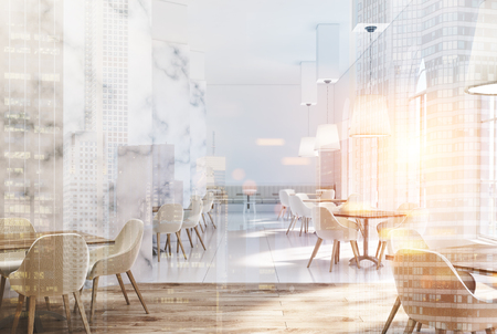 old fashioned: Marble cafe interior with white walls, large windows, beige sofas and chairs and square wooden tables. 3d rendering mock up toned image double exposure Stock Photo