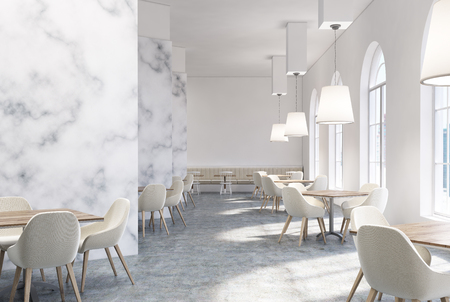 marble cafe interior with white walls large windows white sofas and chairs and square - Large Cafe Interior