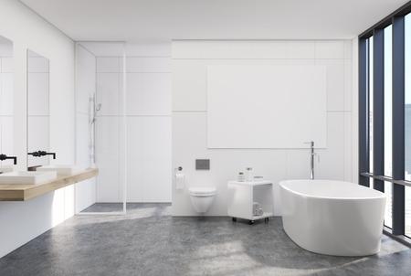 Intérieur De Salle De Bain Blanc Moderne Avec Une Fenêtre Loft, Une ...
