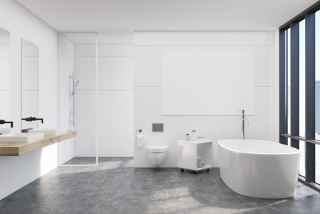 modern bathroom: Modern white bathroom interior with a loft window, a horizontal poster hanging above a round tub, two sinks and a shower. 3d rendering mock up