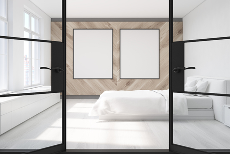 bedside: White bedroom with a white floor and a white and a wooden wall, large windows and a bedside table with a closet. Black doors, two posters. Side view. 3d rendering mock up