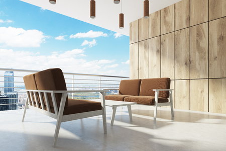 Wooden balcony, brown armchairs, cityscape