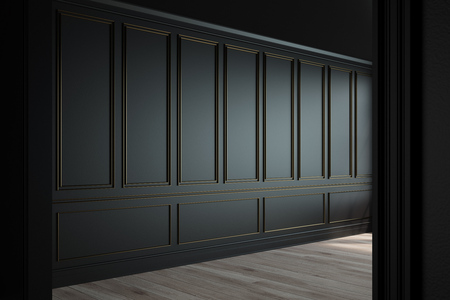 Empty luxury room interior with black walls, frame like decoration elements on them and a wooden floor. Side view. 3d rendering, mock up