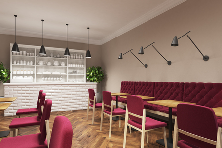 old fashioned: Coffee shop interior with dark red chairs standing near square wooden tables and a white bar like counter. There is a white cupboard with cups and teapots. Side view. 3d rendering mock up