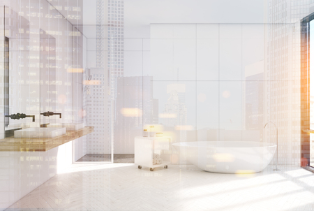 modern bathroom: Modern white bathroom interior with a loft window, a horizontal poster hanging above a round tub, two sinks and a shower. 3d rendering mock up toned image double exposure Stock Photo