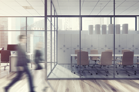 luxury room: Business people in an office lobby with a glass meeting room, a long table, two rows of beige chairs, a computer table to the left of it. 3d rendering mock up Stock Photo