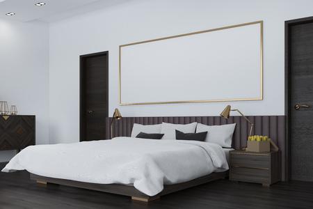 Fußboden Schlafzimmer Xl ~ Weißes schlafzimmer im dachgeschoss mit einer holzdecke einem