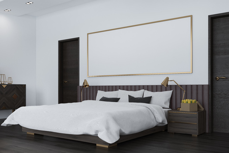 master: White bedroom interior with a dark wooden floor, a large bed, two black doors and a long horizontal poster above the bed. Side. 3d rendering mock up