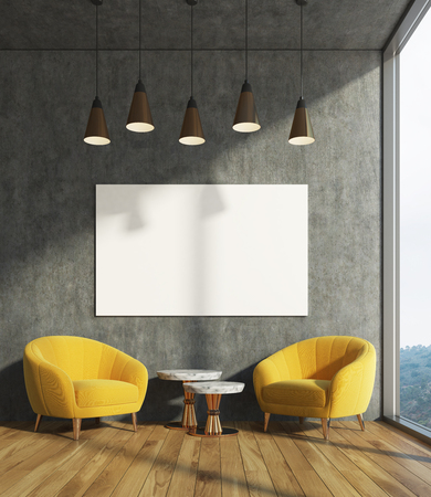 modern living room: Concrete living room interior with dark concrete walls, two yellow armchairs and a coffee table, a poster. 3d rendering mock up