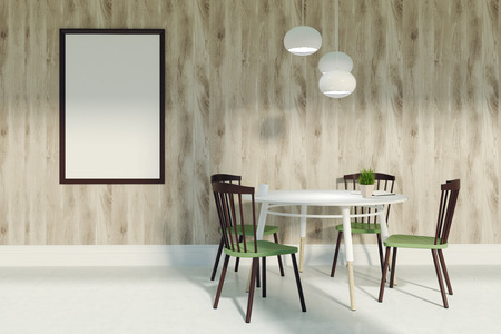 Wooden living room interior with wooden walls and a concrete floor. Four green and brown chairs are standing near round white table. A framed poster and a lamp. 3d rendering mock up Stock Photo