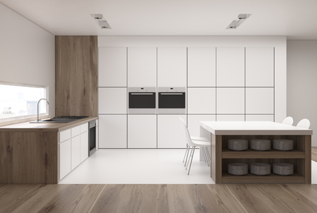 luxury room: White kitchen interior with a narrow window, a table with built in shelves, a row of counter tops and two ovens. 3d rendering mock up Stock Photo