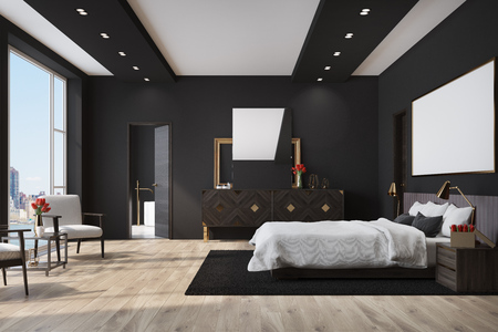 White bedroom interior with a large bed with a white cover, a wooden floor, a loft window and a cabinet with a mirror on it. 3d rendering mock up