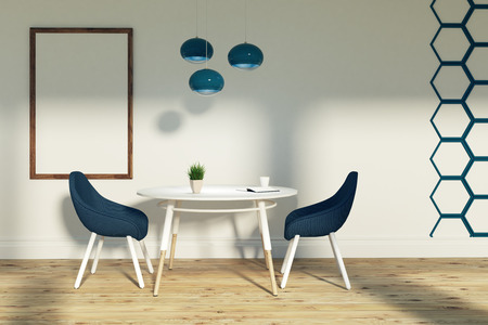 White living room interior with a hexagon wall pattern. Two blue chairs are standing near round white table. A framed poster and a lamp. 3d rendering mock up