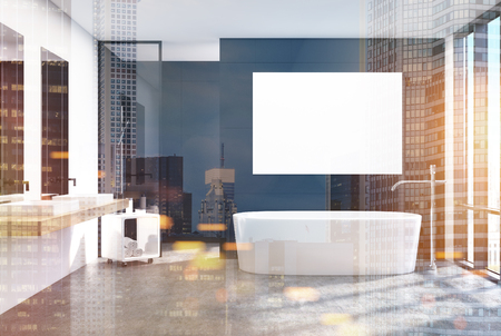 Modern black bathroom interior with a loft window, a horizontal poster hanging above a round tub, two sinks and a shower. 3d rendering mock up toned image double exposure