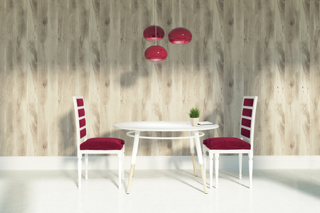 Wooden living room interior with wooden walls and a concrete floor. Two red chairs are standing near round white table. An unusual ceiling lamp. 3d rendering