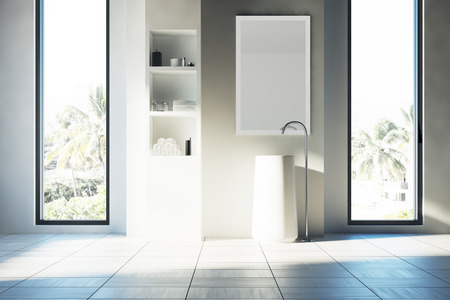 Gray bathroom interior with a white floor, two narrow and tall windows with a tropical island view and a white sink. White shelves are to the right of it. 3d rendering Stock Photo