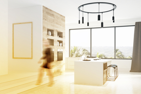 Hexagon pattern kitchen wall with white countertops, a white and wooden bar and a table with white chairs standing around it. Tropical panorama. Corner, woman. 3d rendering mock up toned image