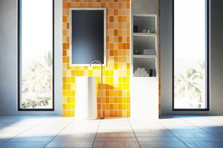 Yellow bathroom interior with a white floor, two narrow and tall windows with a tropical island view and a white sink. White shelves are to the right of it. 3d rendering