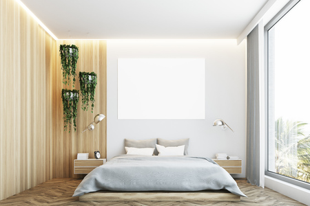 Gray and wooden bedroom interior with a wooden floor, a gray bed and a large horizontal poster hanging above it. 3d rendering mock up