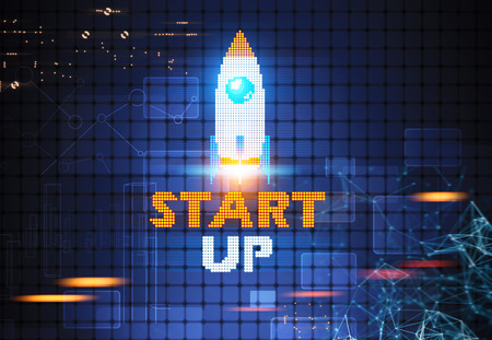launcher: White red and blue pixelated start up rocket flying against a futuristic dark blue background. HUD and polygons. Toned image double exposure Stock Photo