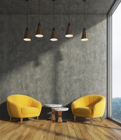 Concrete living room interior with dark concrete walls, two yellow armchairs and a coffee table. 3d rendering mock up Standard-Bild