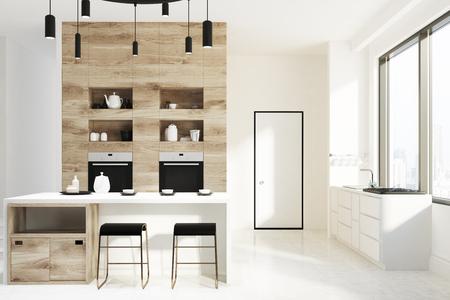 Cucine bianche e legno. libera da diritti download cucina bianca e