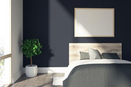 Intérieur de chambre à coucher noir avec une fenêtre de grenier, un lit avec une couverture grise et une affiche encadrée horizontale suspendue au-dessus. Maquette 3D Banque d'images - 84195823