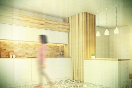 expensive: Hexagon pattern kitchen wall with white countertops, a white and wooden bar and a tiled floor. Side view, woman. 3d rendering mock up toned image Stock Photo