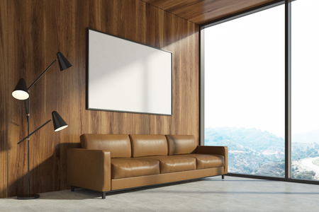 couch: Minimalist living room interior with a wooden wall, a concrete floor, a brown sofa and a bench. A panoramic window and a poster. 3d rendering mock up Stock Photo