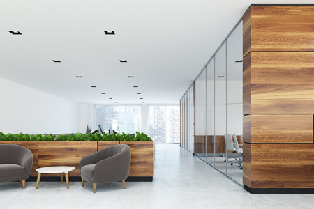 White and wooden office with a waiting area. There are two gray armchairs and a coffee table near flower beds. 3d rendering mock up Stock Photo