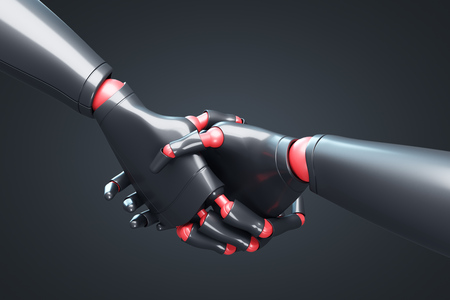 Close up of two black cyborgs shaking hands. Concept of the future and new technologies. Black background. 3d rendering mock up