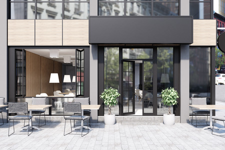Modern black and gray cafe interior with a rectangular sign, wooden tables and metal chairs. 3d rendering mock up Archivio Fotografico