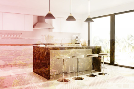 kitchen cabinets: Modern kitchen interior with a concrete floor, a loft window, a marble bar shand with a row of stools and white countertops. 3d rendering mock up toned image double exposure