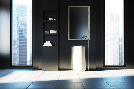 details: Black bathroom interior with a white floor, two narrow and tall windows with a city view and a white sink. White shelves are to the right of it. 3d rendering Stock Photo