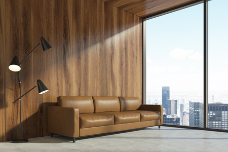 Minimalist Living Room Interior With A Wooden Wall A Concrete Enchanting Living Room Brown Couch Minimalist