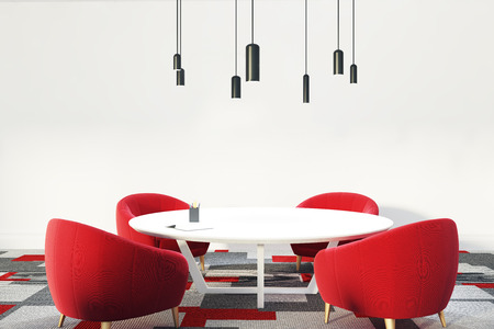list of successful candidates: Office waiting room or a staff room interior with a round table, red comfortable armchairs standing near it, a gray and red carpet and an original lamp. 3d rendering mock up