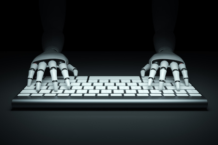 cybernetics: Front view of two cyborg hands typing on a computer keyboard against a black background. 3d rendering mock up