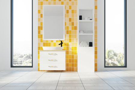 Yellow bathroom interior with a white floor, a liled wall, two narrow and tall windows with a tropical island view and a white sink. White shelves are to the right of it. 3d rendering