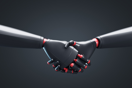 Close up of two black cyborgs shaking hands. Concept of the future and new technologies. 3d rendering mock up