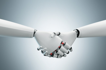 Close up of two white cyborgs shaking hands. Gray background. Concept of the future and new technologies. 3d rendering mock up Stock Photo