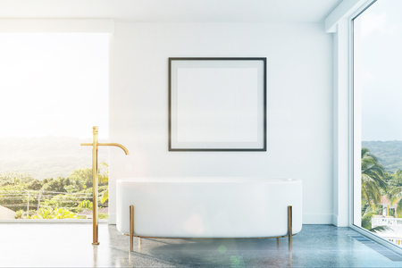 White bathroom interior with panoramic windows, a tropical view, an originally shaped bathtub and a framed square poster on a wall. 3d rendering mock up toned image
