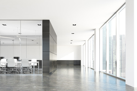 Corner of a modern conference room with glass and dark wooden walls, a concrete floor and loft windows. 3d rendering mock up Reklamní fotografie