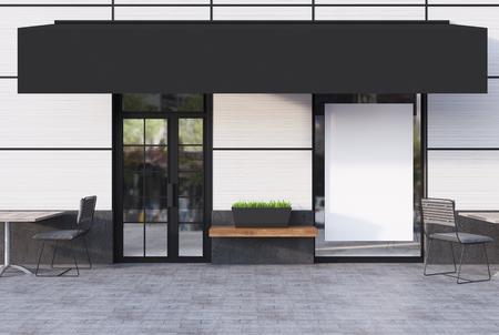 Blanco exterior del café con una puerta de cristal, un cartel en una ventana y un lugar para un nombre de la cadena. Representación 3d simular