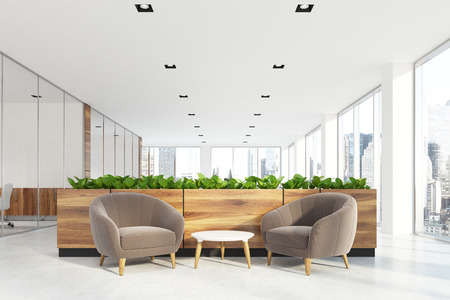 Modern Office Waiting Area With Beige Armchairs, A Coffee Table, Glass Wall  Offices And